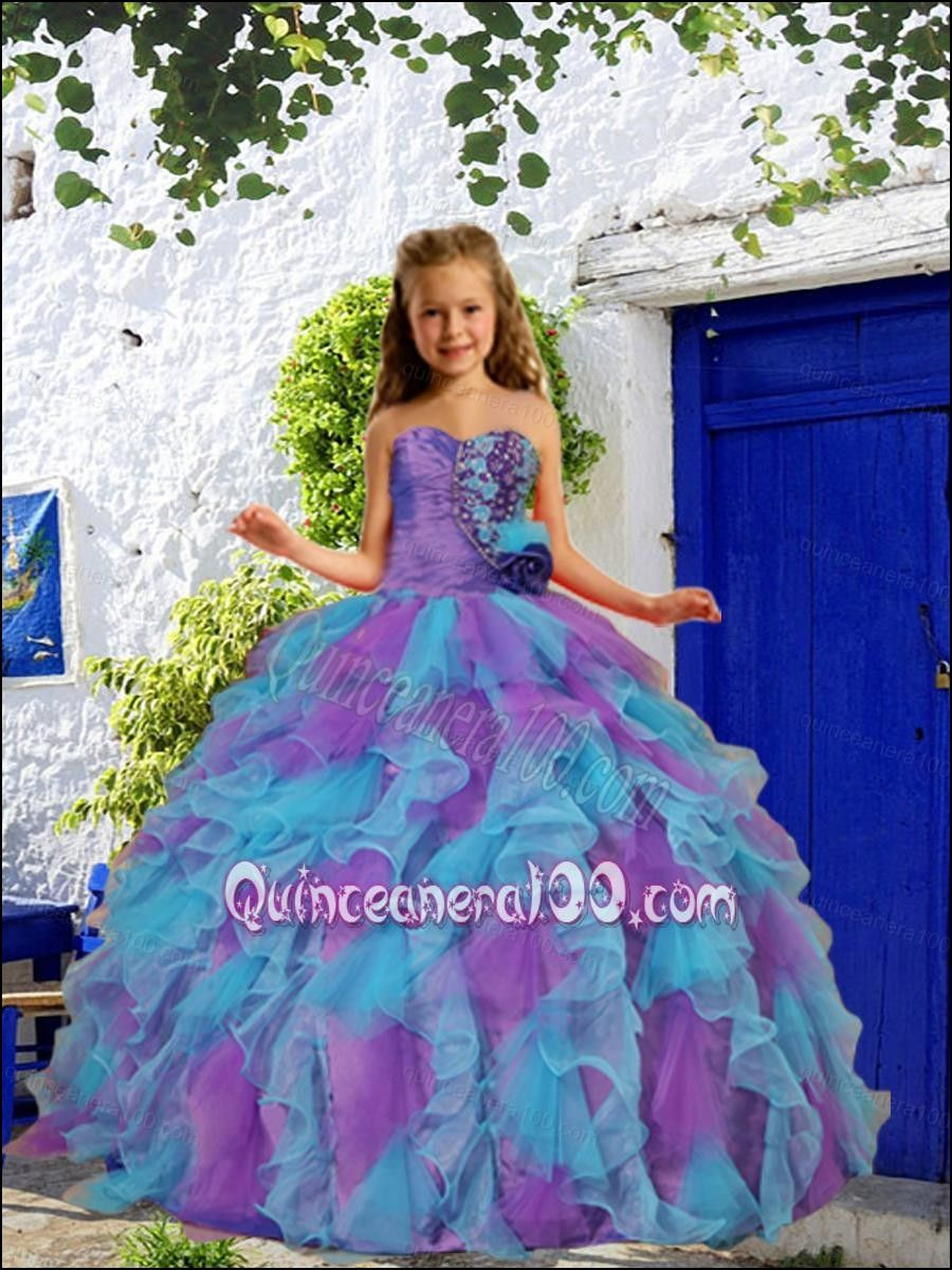 Affordable little girls pageant dresses dresses and gowns ideas 2016 summer cheap beading and ruffles purple and blue little girl pageant dress with hand made flower izmirmasajfo