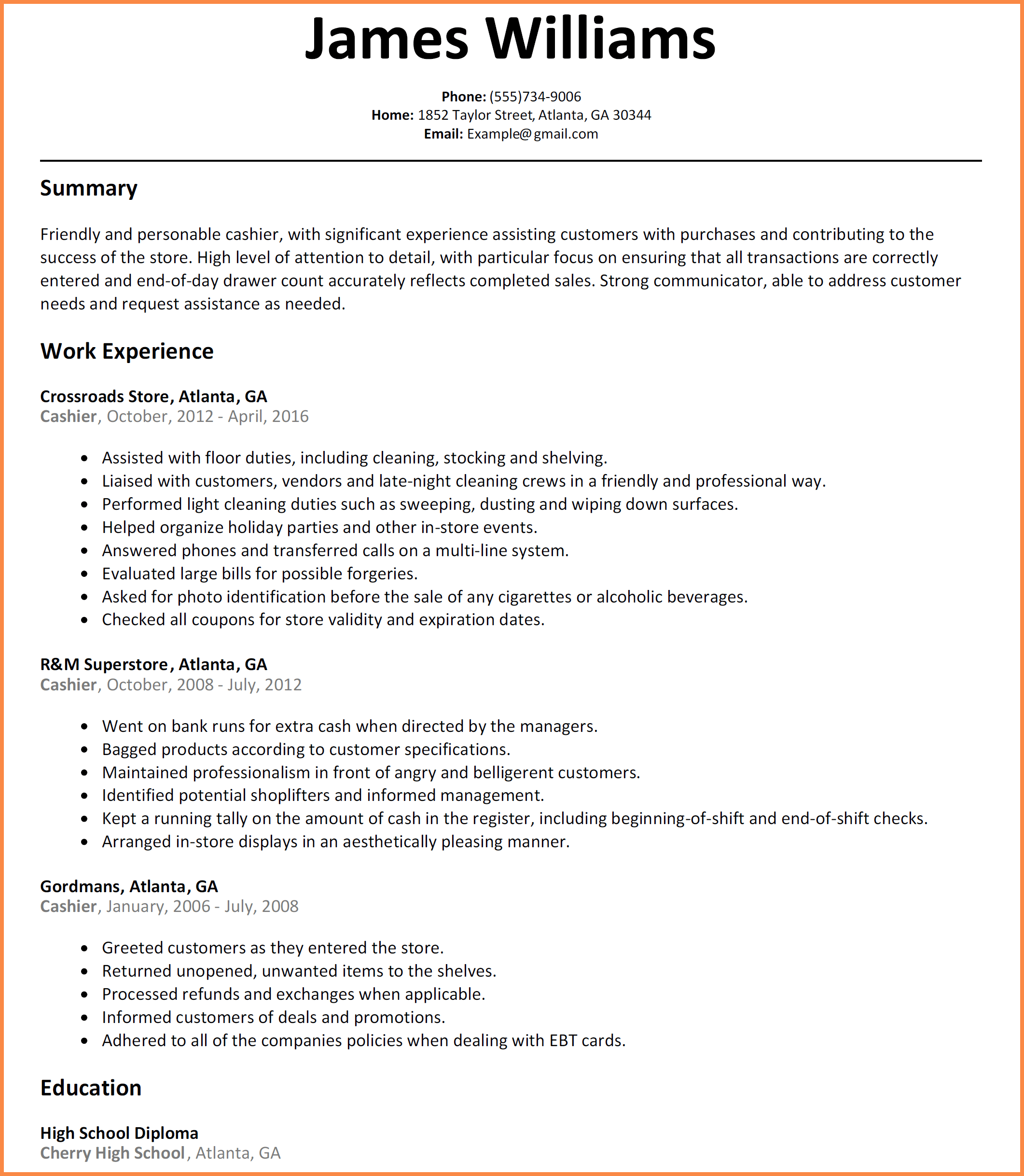 Sample of a cashiers resume sample business plan home health care agency