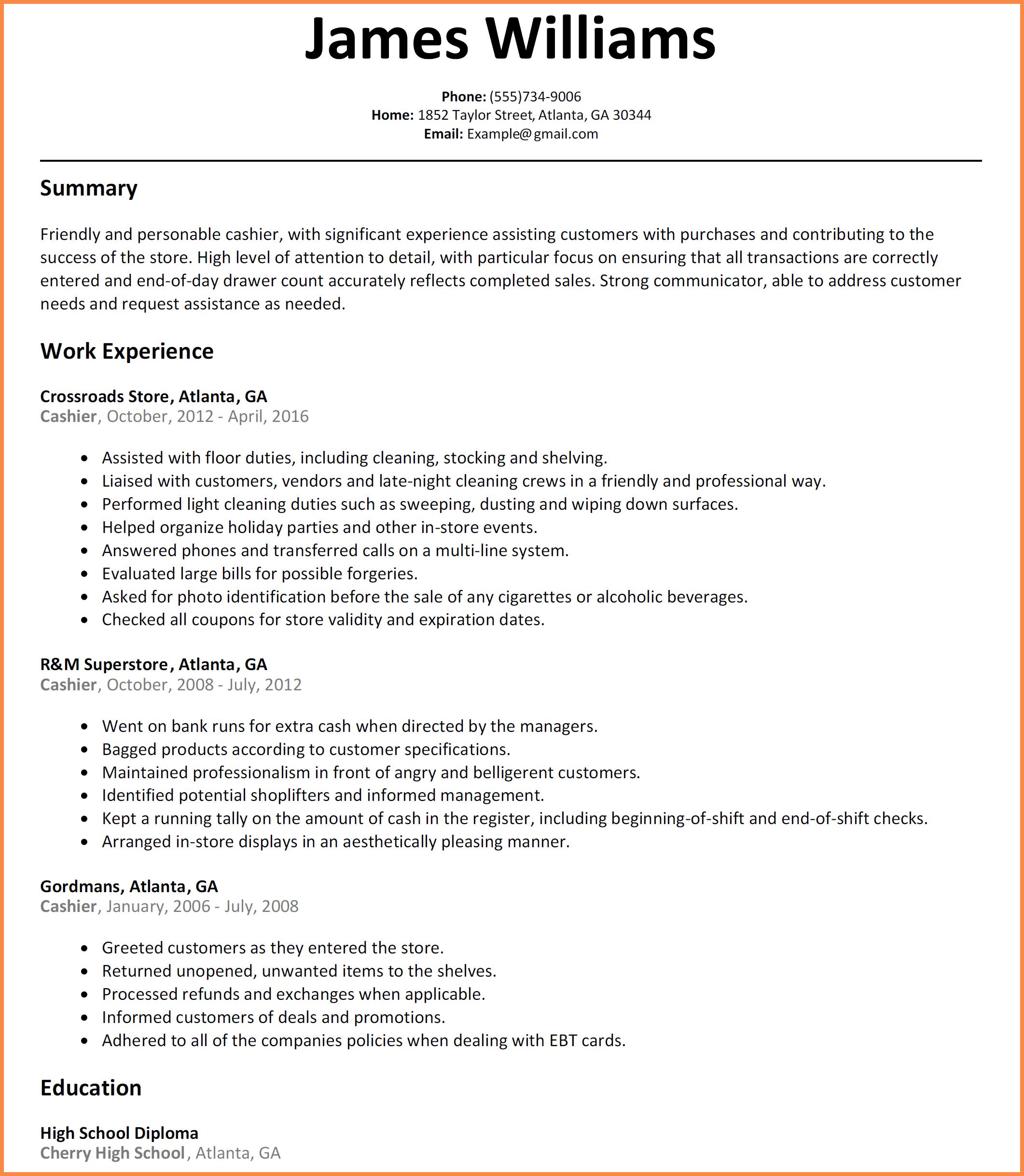 Cashier Resume Sample Resume Name Sample Resume Sample Resume Templates Resume