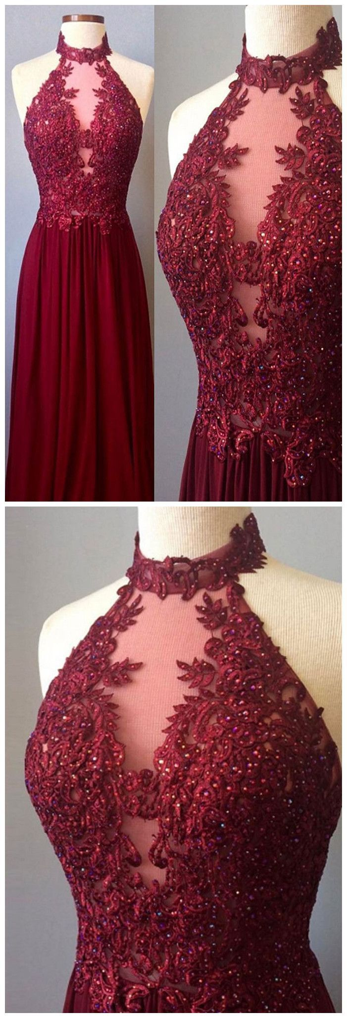 Chic aline high neck chiffon applique burgundy long prom dress