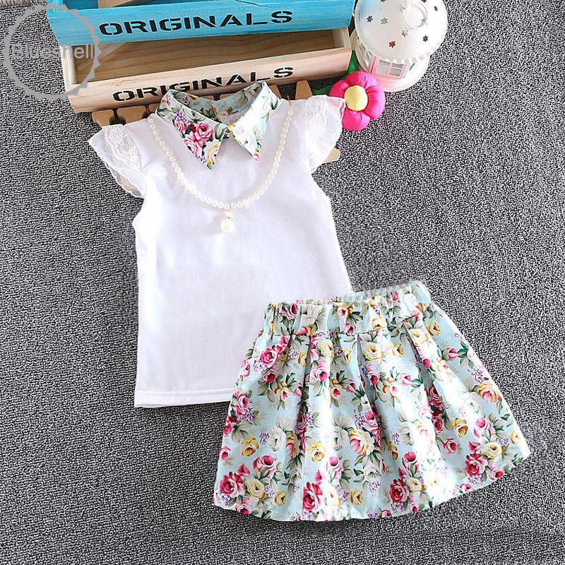 2016 Moda verão do bebê meninas set 2 pcs colar Da Criança recém nascidos camisa…