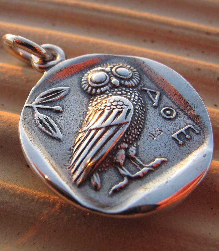 605 Athens Tetradrachm Athena Wise Owl Greek Silver Coin Pendant