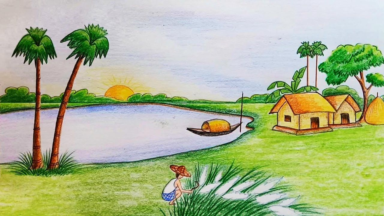 Easy Nature Scene Drawing Natural Scenery Drawing At Getdrawings Easy Scenery Drawing Beautiful Scenery Drawing Landscape Drawings