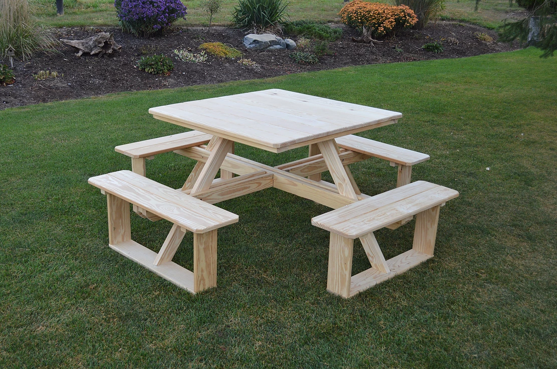 44 Square Pine Walk In Picnic Table Picnic Table Wooden Picnic