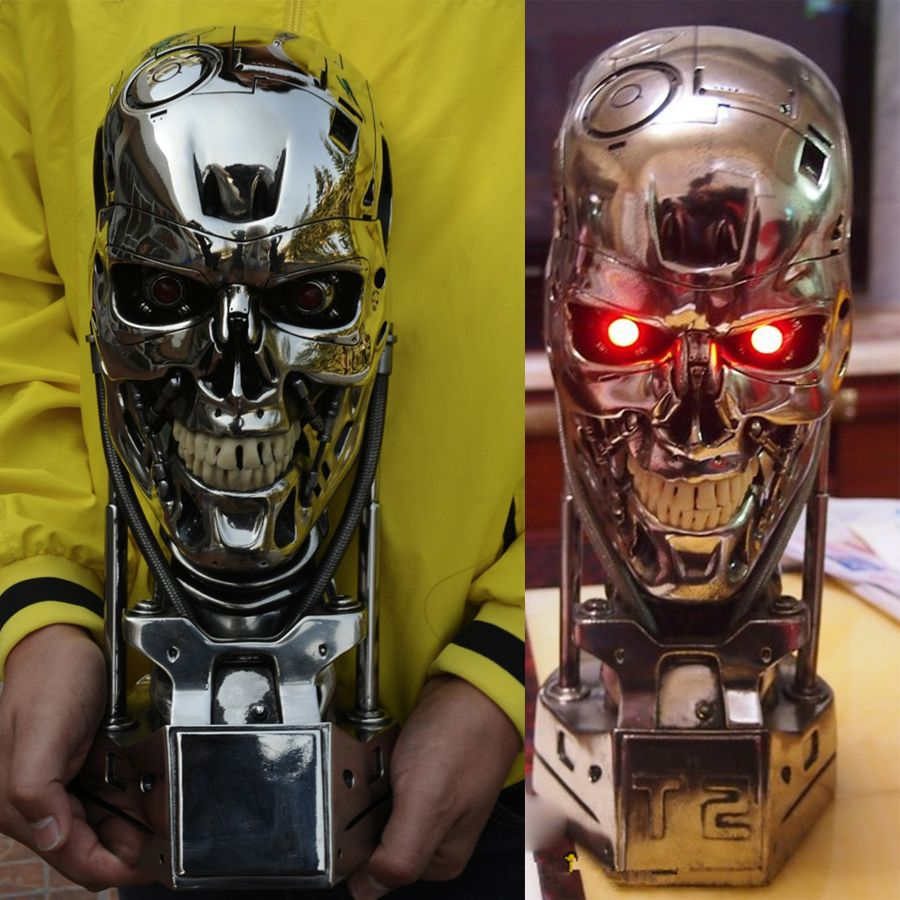 Terminator T-800 Head Skull 1//1 Figure Vinyl Model Kit with LED /& BASE