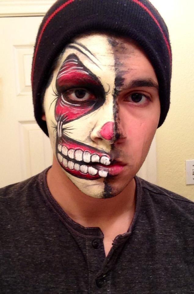 Half clown face paint