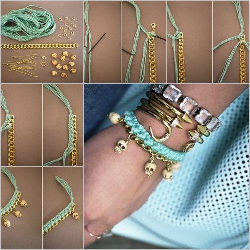 Diy Woven Charm Bracelet Embroidery Floss Bracelets Charm Bracelet Diy Choker