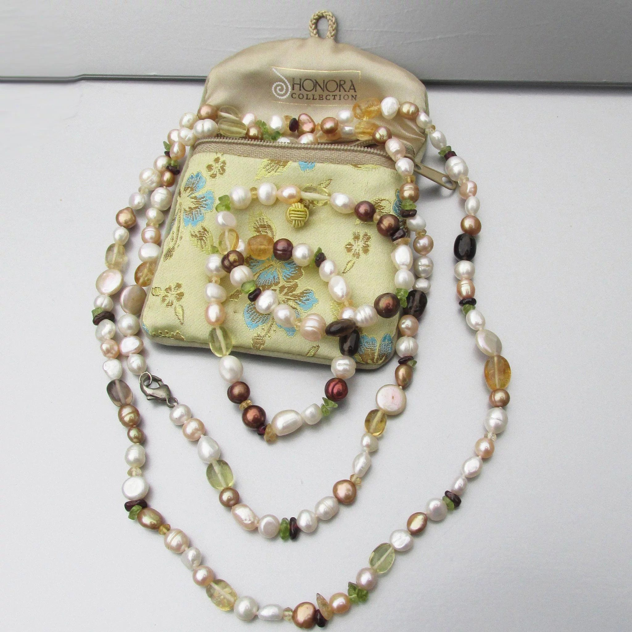 Vintage Faceted Citrine Glass and Freshwater Pearl Beaded Necklace