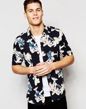 e57dff2b ASOS Viscose Shirt With Palm Tree Print And Revere Collar In Regular Fit