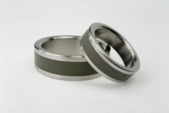 Titanium and Concrete Wedding Ring Set by hersteller on Etsy