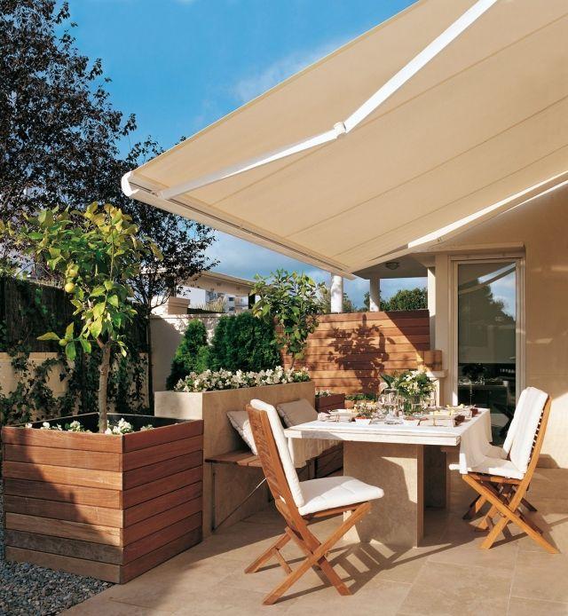 terrasse ideen gestalten ausfahrbare markise sonnenschutz - sonnenschutz markisen terrasse