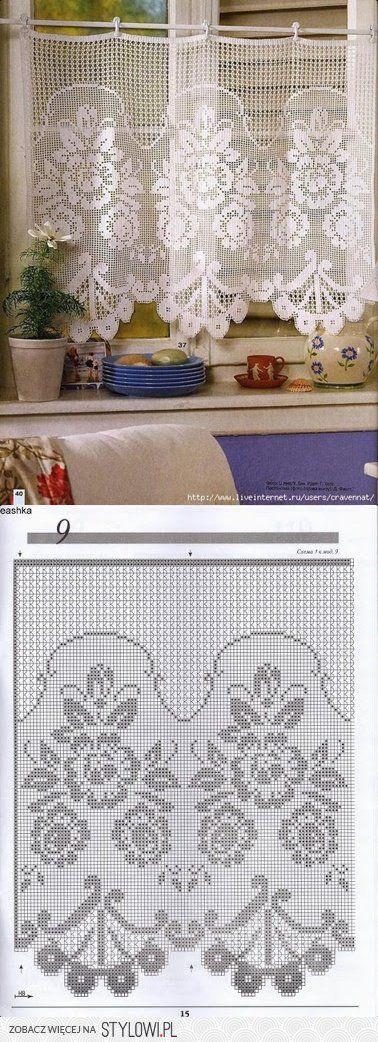 firana / zazdroska / szydełko / filet   Crochet   Pinterest ...