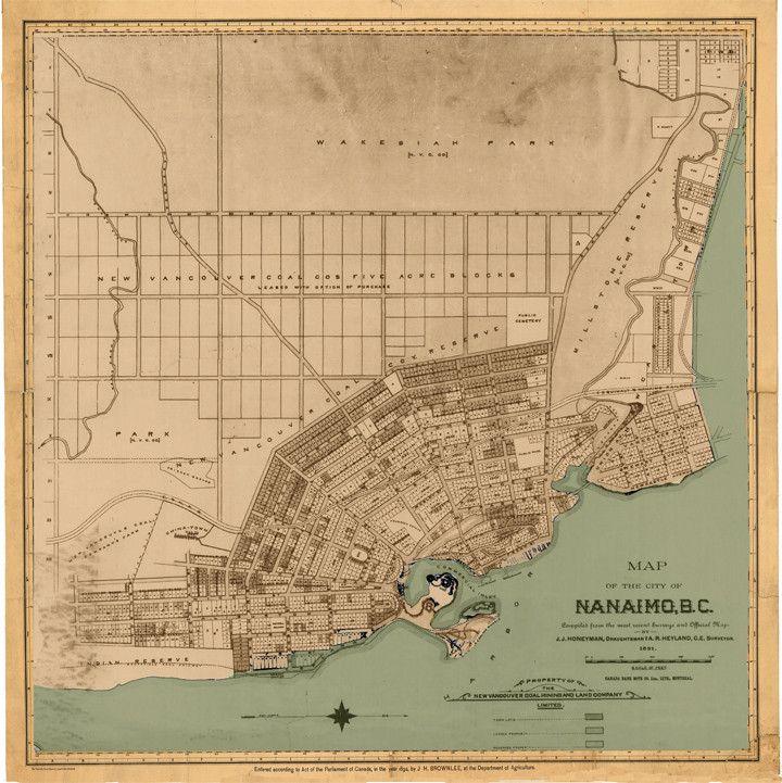 Nanaimo Canada Vintage Map Nanaimo Map, 1891 | Nanaimo, Map, Vintage world maps
