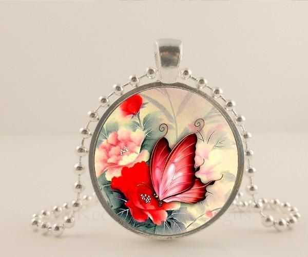 "Butterfly necklaace. 1"" glass and metal pendant necklace Jewelry. - McKee Jewelry Designs"