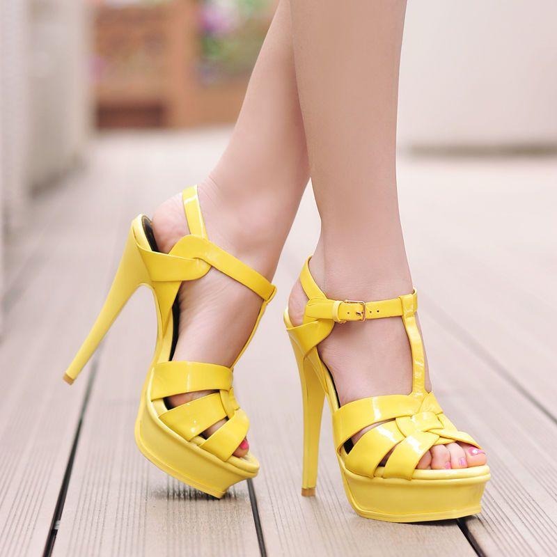 376a5b6af 2017 Hot Womens High Heel Peeptoe T-Strappy Platform Cut Out Ol Ladies  Sandals