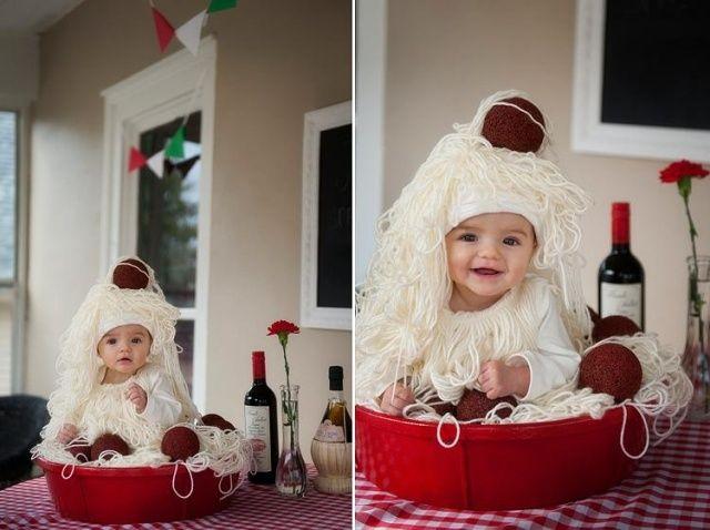 Selbstgemachte Faschingskostume Idee Baby Spaghetti Frikadellen
