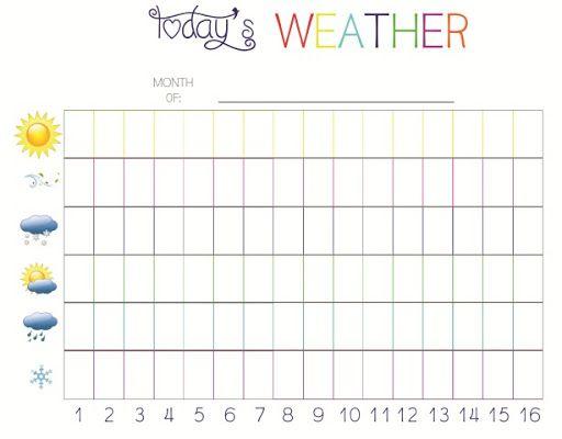 Pre K Calendar Printables : Pre k weather charting free printable preschool
