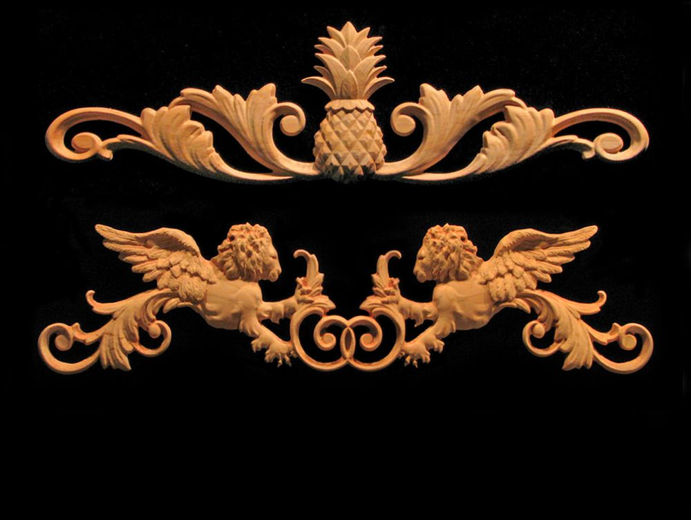 Wood carved trim for decorative products corner blocks for Decorative wood onlays