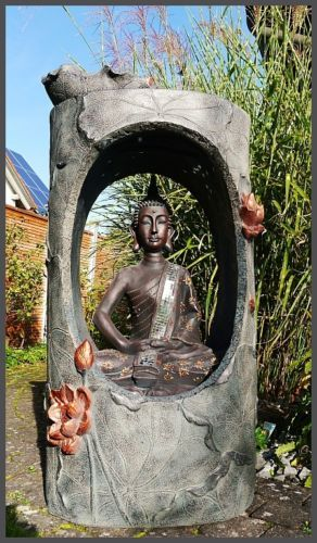 Xxl buddha brunnen gartenbrunnen wasserwand 117 cm ho led licht u nebelfunktion royal thai - Gartenbrunnen buddha ...