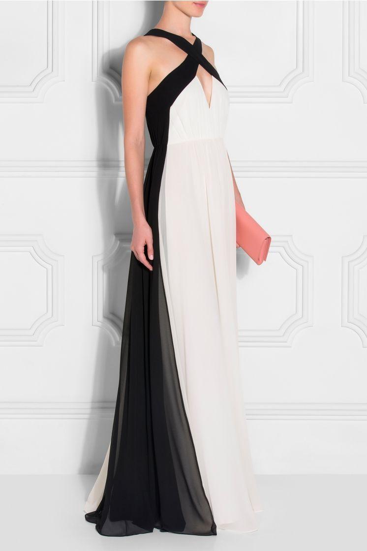 White halter neck georgette gown womenus fashion pinterest