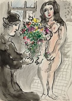 Les amoureux au bouquet  (1887-1985)  signed 'Marc Chagall' (lower right)  brush and India ink and gray wash, pastel and pencil on paper  21 7/8 x 15 7/8 in. (55.6 x 40.3 cm.)  Executed in 1972 Estimate $140,000 - $180,000