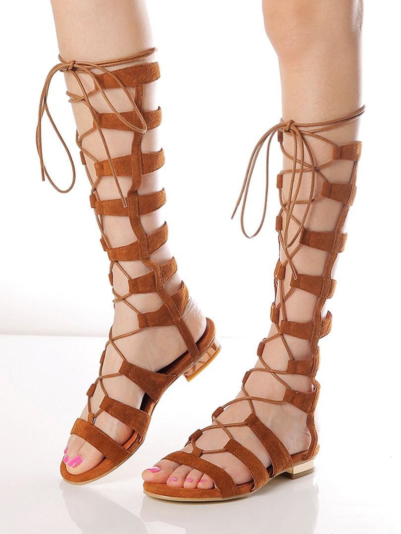 Brown Suede Knee High Lace-up Gladiator
