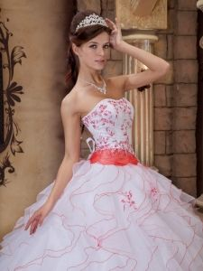 Like idea of white dress with small details of color coral