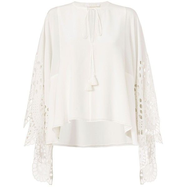 Chloe Eyelet Lace Sleeve Blouse ($1,750) ❤ liked on Polyvore featuring tops, blouses and white