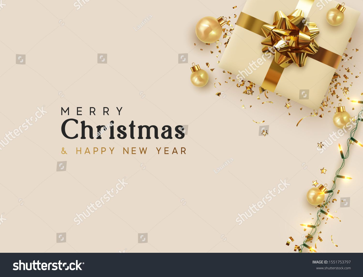 Holiday Background Merry Christmas And Happy New Year Xmas Design With Realistic Objects Holiday Background Merry Christmas And Happy New Year Merry Christmas
