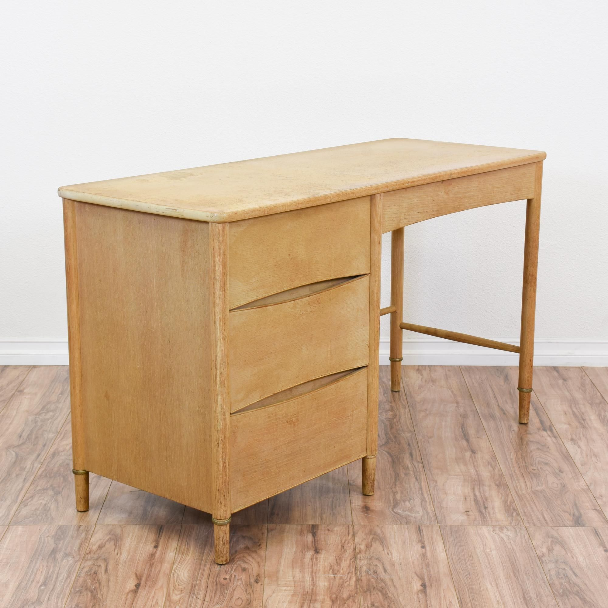 This Mengel Desk Is Featured In A Solid Wood With A Light Blonde Wood Finish This Mid Century Modern De Light Wood Desk Mid Century Modern Desk Stylish Desk