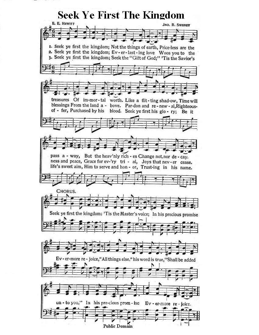 Seek Ye First Lyrics : first, lyrics, Daily, Bible, Study, Weekly, Sabbath, Sermons, Hymns, Praise,, Spiritual, Songs,