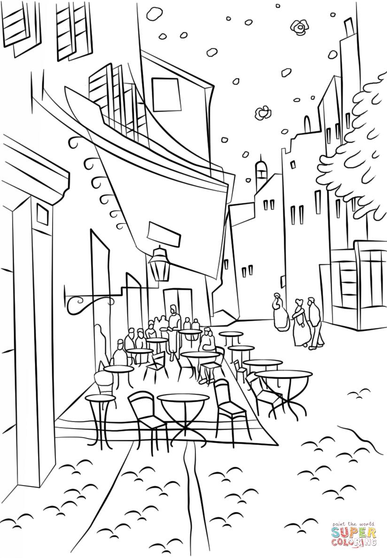 Terraza de Café por la Noche de Vincent Van Gogh Dibujo
