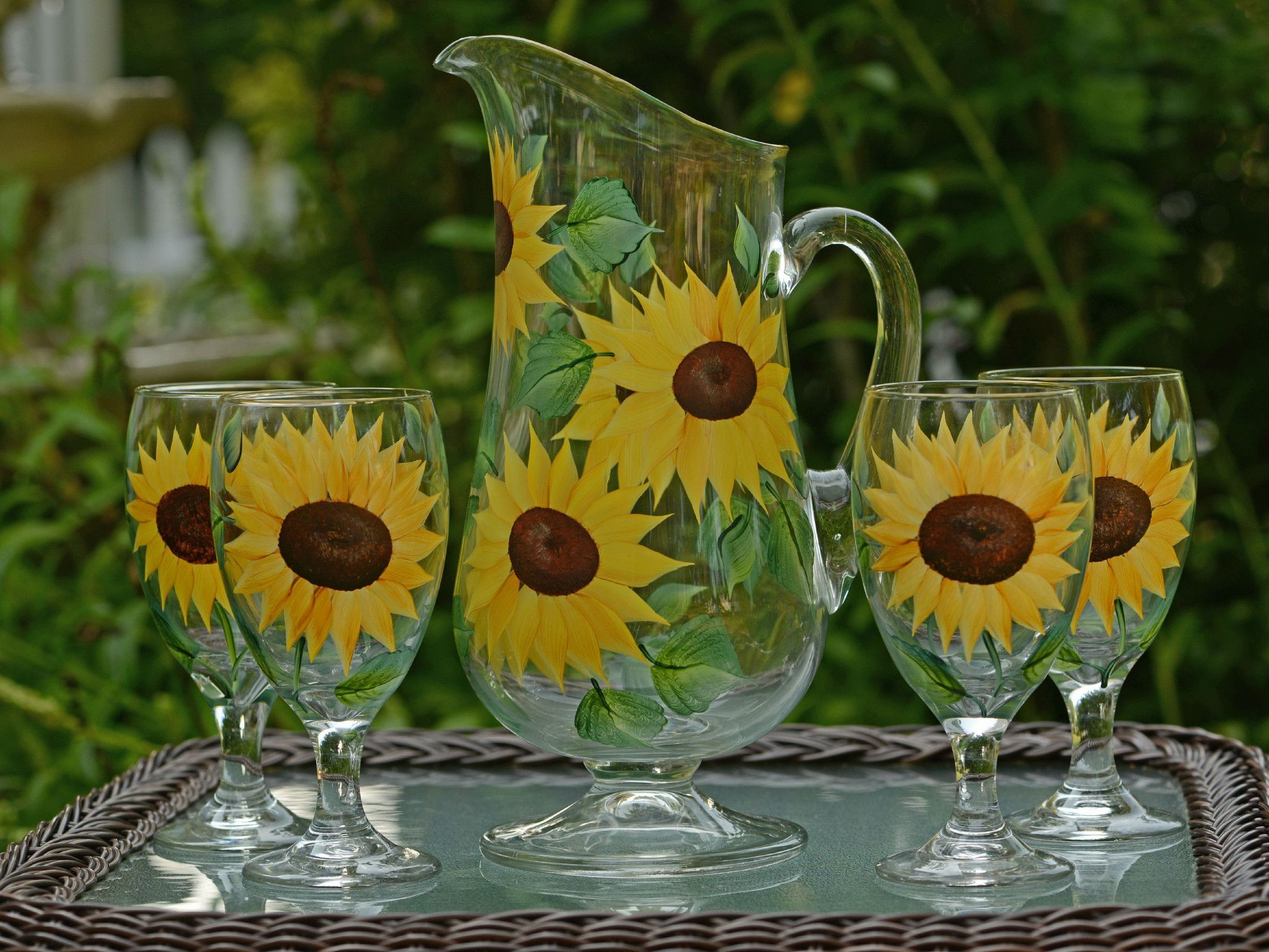 Sunflowers 5-Piece Hostess Set with Footed Pitcher | Girasoles y ...