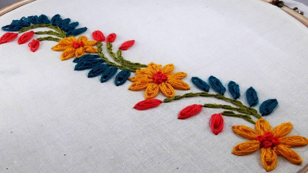 Hand Embroidery : border design by nakshi katha.