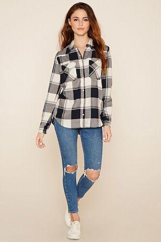 571d2923 Camisa cuadros botones a presión | Informal outfit | Camisa de ...