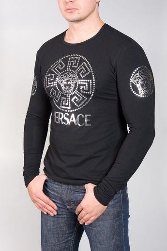 00a8f80d VERSACE MEN'S BLACK MEDUSA LOGO SHIRT Stylish black Versace long-sleeve  cotton shirt with stunning
