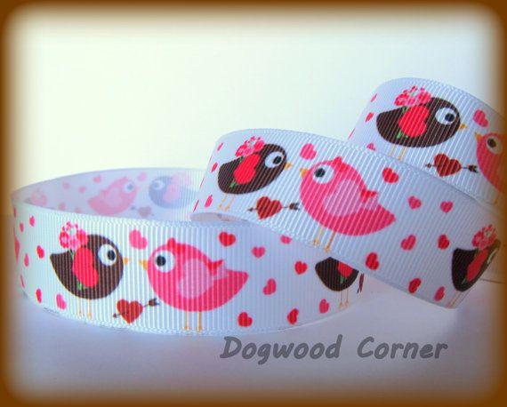 5 Yards   7/8 inch Love Birds Hearts Valentine's by Dogwoodcorner, $5.00