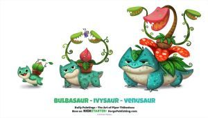 Daily 1316. Bulbasaur/ Ivysaur/ Venusaur by Cryptid-Creations