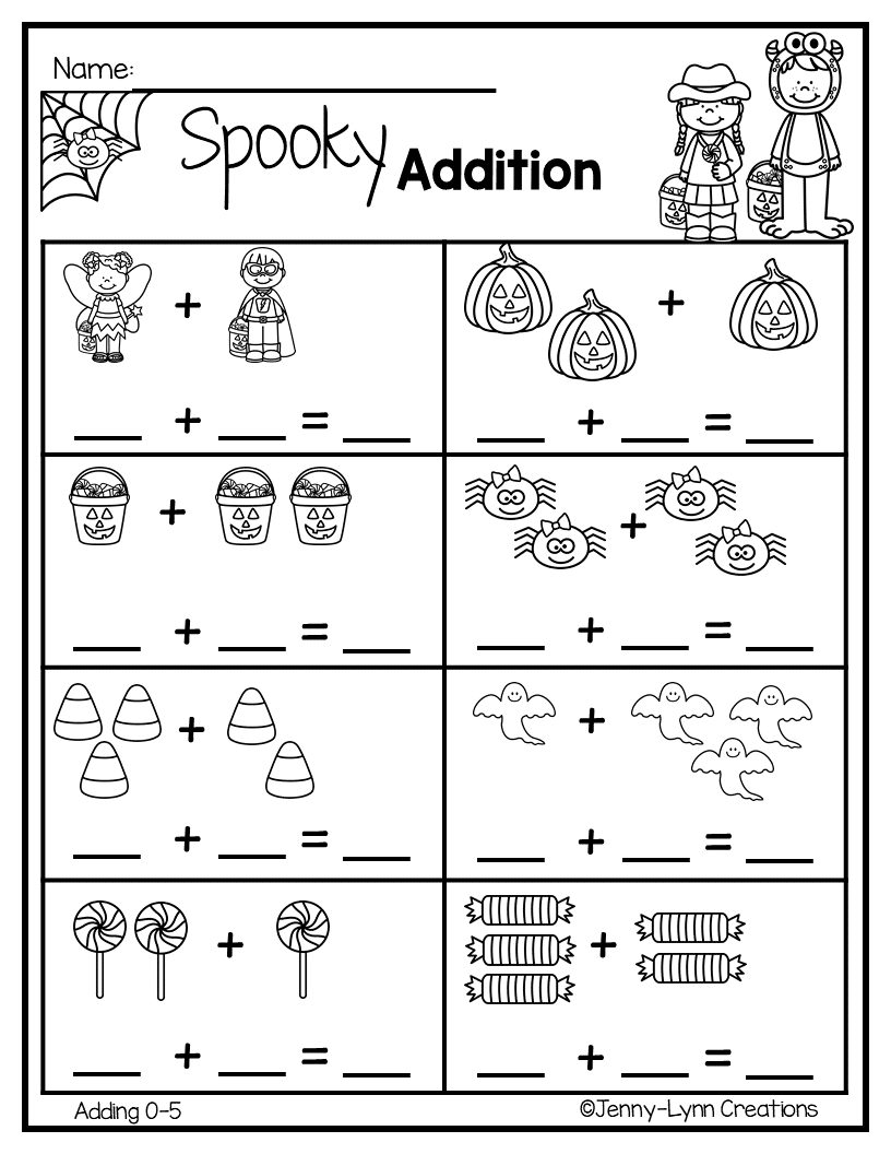 Halloween Addition Kindergarten math worksheets, Math