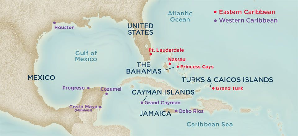 Caribbean Getaway Cruise Map Itinerary
