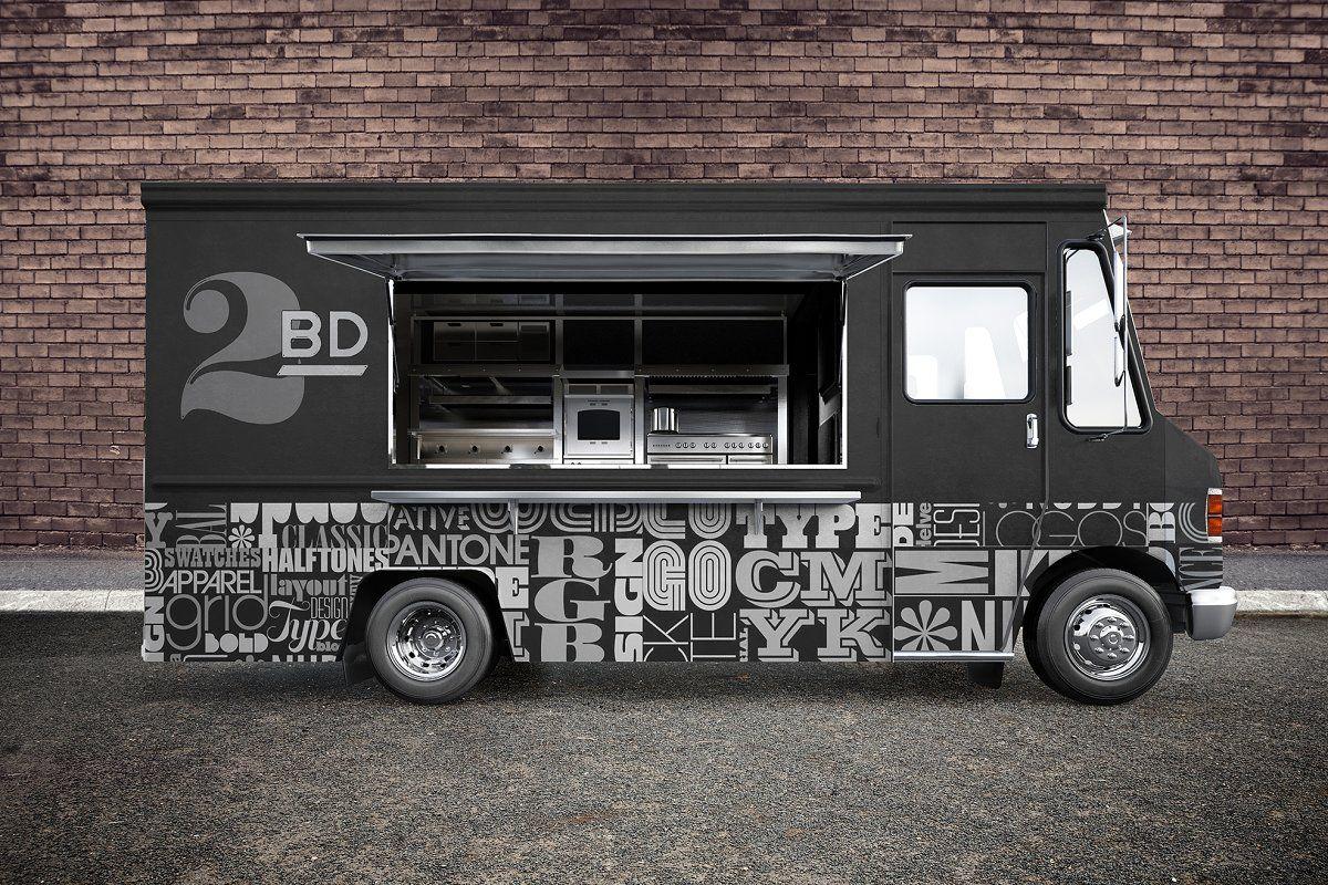 Food Truck Psd Mockup Food Truck Food Truck Design Pizza Food Truck