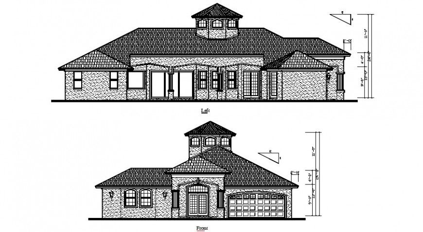 Residential Housing Detail Elevation Drawing 2d View Autocad File Elevation Drawing Architecture Drawing Autocad