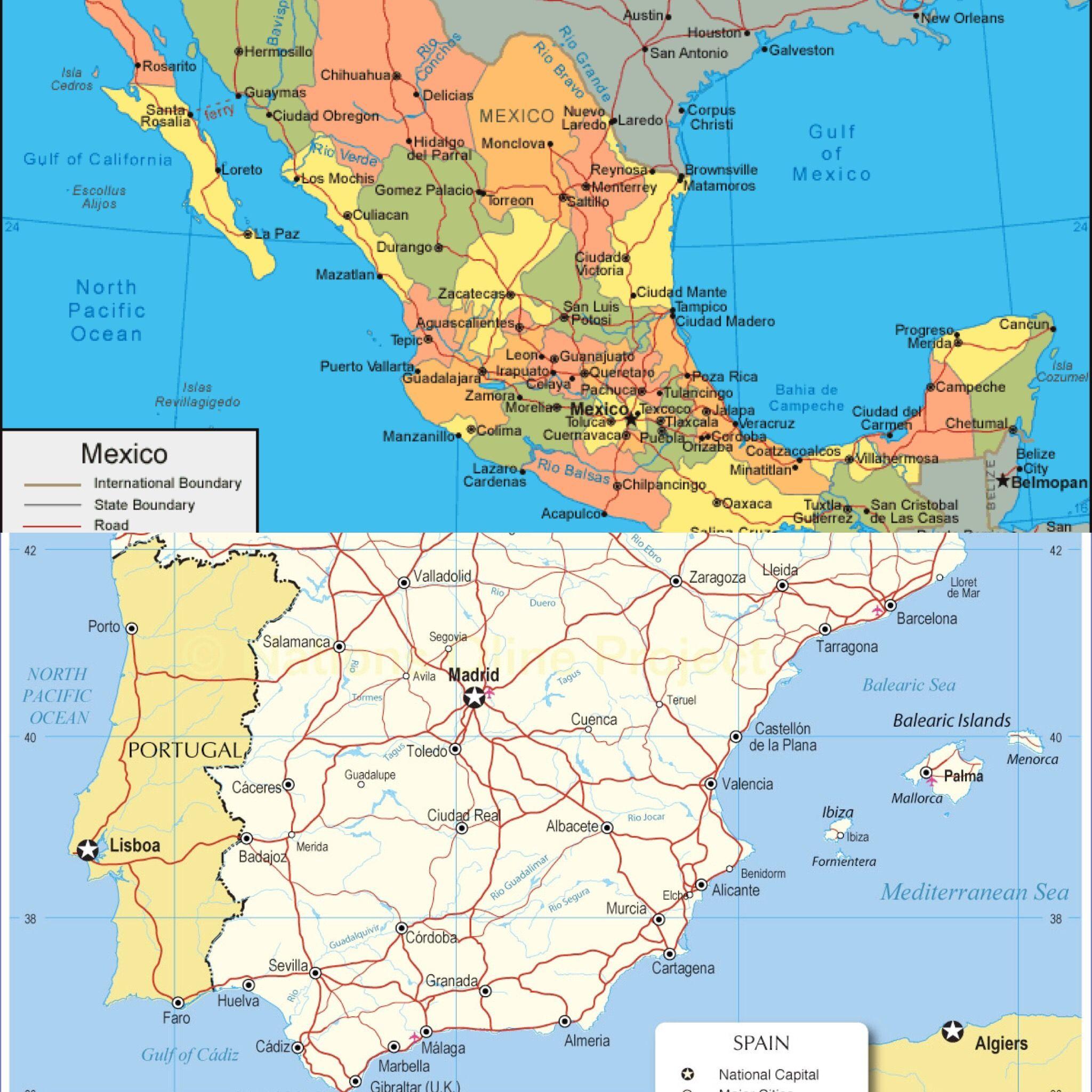 espaa est cerca del mar mediterrneo y mxico est al lado del golfo de mxico