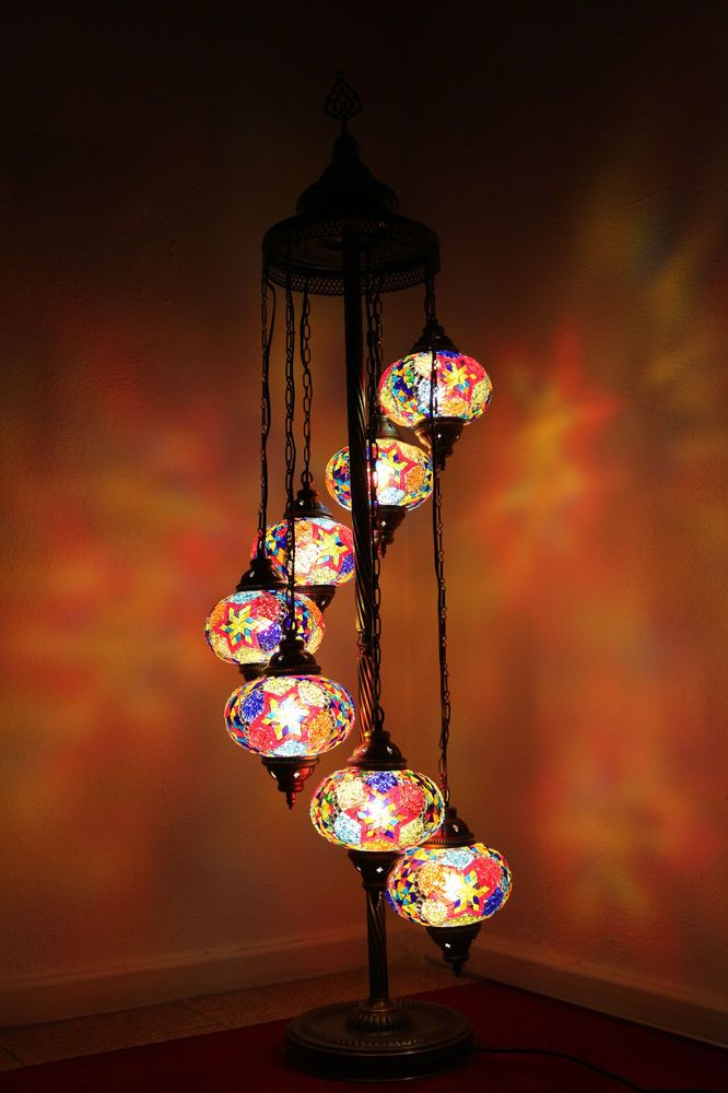 Turkish Moroccan Style Mosaic Multicolour Floor Lamp Light 7 Large Globe LM7331