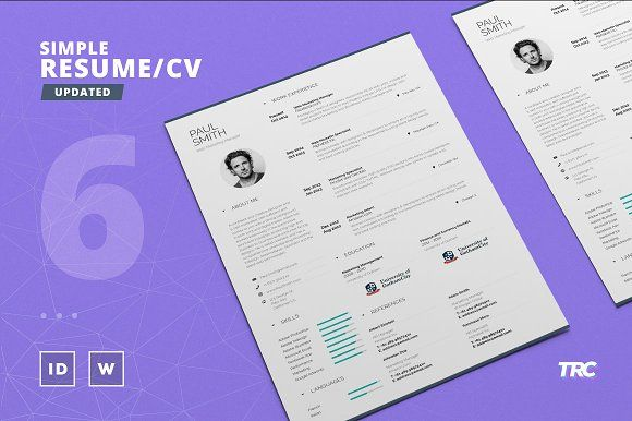 Simple Resume/Cv Template Volume 6 by TheResumeCreator on - cv vs resume