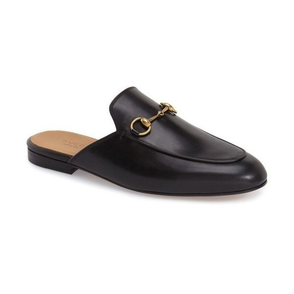 991061dad Women's Gucci Princetown Loafer Mule ($680) ❤ liked on Polyvore featuring  shoes, black leather, black leather mules, slip on shoes, gucci mules, ...