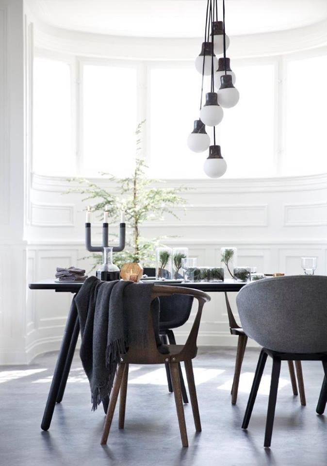 Love this look combining tradition walls, midcentury modern furniture modern pendant. In Between chairs - Mass Light, Marble lamps from &tradition. Fin more here:http://www.andtradition.com/the-collection/9-chairs/1792-in-between-chair-with-upholstered-seat---sk2/