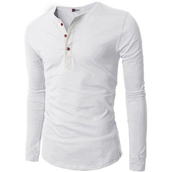 H2H Mens Casual Slim Fit Basic Henley Long Sleeve T-shirt (€18 ...