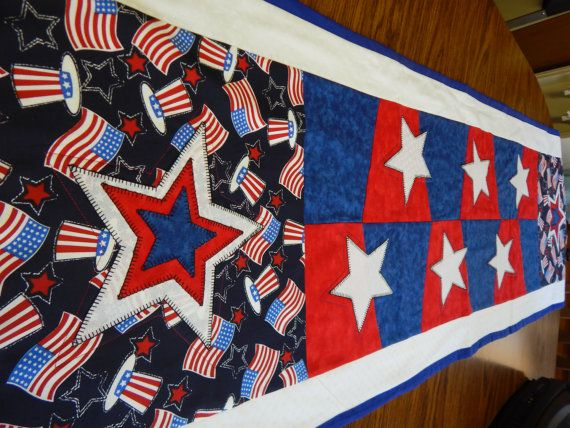 The Red  White and Blue Table Runner by HomeSpunKrafts on Etsy