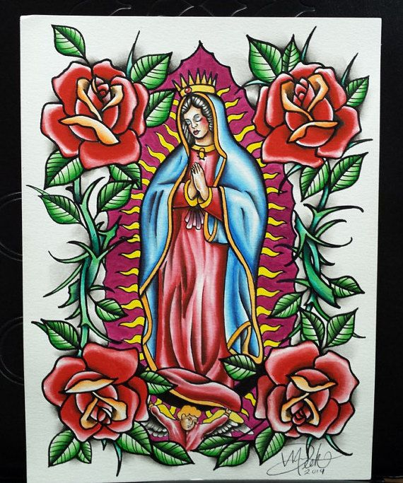 Traditional Virgin Mary Guadalupe Watercolor Tattoo Flash Original